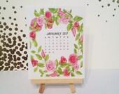 Rose Calendar for 2017: Quarter Page Desk Calendar - Mini Desk Calendar - 2017 Calendar - Pink Rose Calendar - With Easel Stand