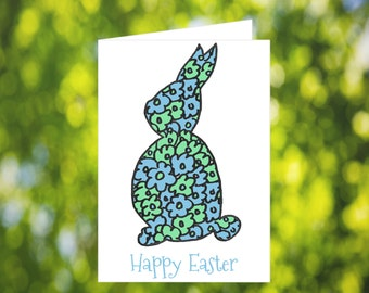 Easter Card: Blue - Green - Flowers - Happy Easter Greeting Card - Cute Easter Card - Printable - Download - Rabbit - Bunny - For Children