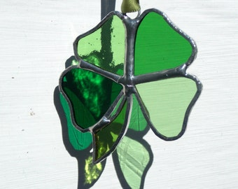 Stained Glass Four Leaf Clover,Shamrock,Sun Catcher.Hanging Window Art,Mixed Green Glass,All OOAK,St. Patrick,Irish,Lucky Charm,Talisman