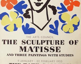 1950s Henri Matisse Vintage Print, Original Retrospective Exhibition Poster, Large Abstract Matisse Cut Outs Woman Portrait