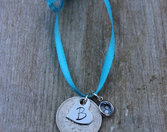 Silver Sixpence for Bride - Sixpence in her Shoe - Sixpence Gift for Bride with Blue Swarovski Crystal and Stamped Heart Charm