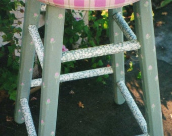 flower bar stool, hand painted bar stools, kids bar stools