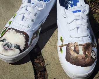 Handpainted Sloth Shoes