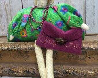 Shopaholic Gift - Shelf Doll - Love to Shop, Retail Therapy, shop girl, shopping girl, gift for mom, shopper, born to shop, friend gift