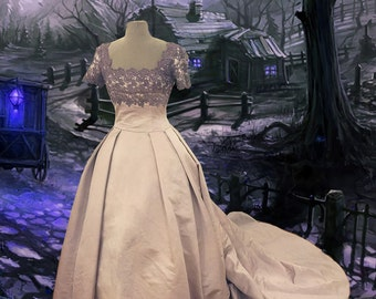 Upcycled Dress Ghost Bride Haunted Victorian Steampunk Gown Size Small Train Bustle