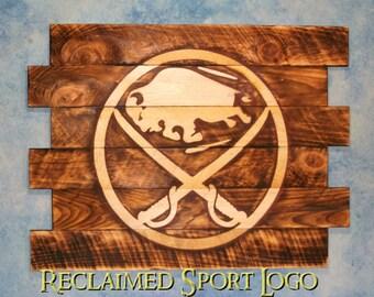 Buffalo Sabres Hockey, FREE UV protector, 30X23, Burnt wall hanging, Shou Sugi Ban, Charred wood, Sports sign, Wood Sports sign, Rustic