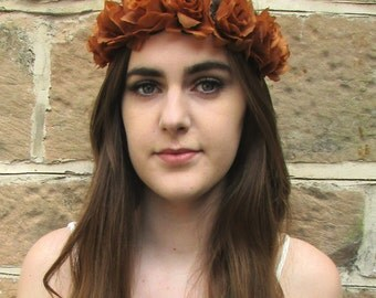 Brown Rose Flower Headband Garland Vintage Boho Festival Elasticated Stretch Z74