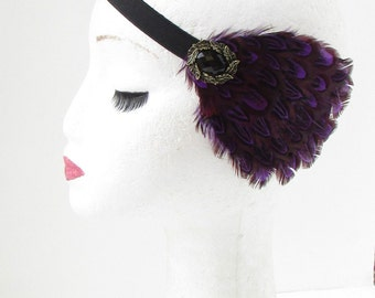Dark Purple Gold Feather Headband Headpiece Vintage Flapper Plum 1920s 1930s 232
