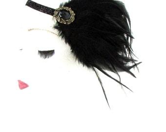 Black Gold Feather Headpiece Flapper 1920s Great Gatsby Headband Vtg Hair 539