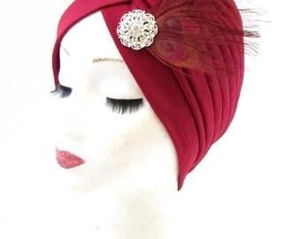 Dark Red Burgundy Silver Feather Turban Fascinator Headpiece Vintage 1920s 821