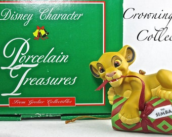 Grolier Simba Ornament Disney Character Porcelain Treasures Vintage Christmas Ornament Cub Present