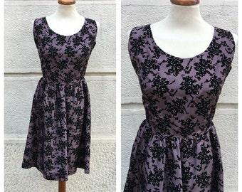 50s Silk Dress - 50s Tailored Dress - 50s Silk Dress with Velvet Details S/M