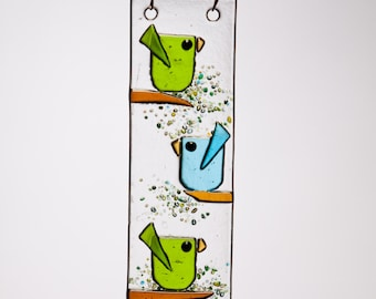 Trio Birds in  Aqua and Green Handmade Fused Glass Suncatcher Ornament