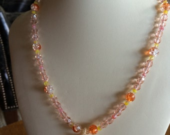 Lovely Sunrise Shell Necklace and Peachy Beads