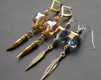 Bohemian Earrings cubes. gift for her. bachelorette party. bridesmaid gift. summer party. earrings light blue, yellow gold. Earrings Dangle.
