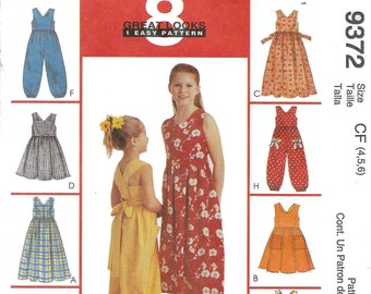 Clearance!!!OUT OF PRINT!! McCalls 9372 Girls Sundress and Jumpsuit. Size 4,5,6. New and uncut.