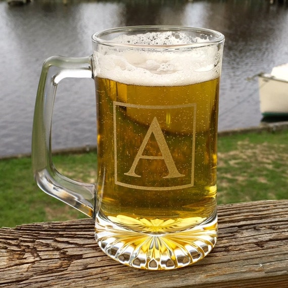 Monogrammed Etched Beer Mug, Personalized Beer Mug, Groomsman Gifts, Bachelor Party Favors, Weddings, Barware, Engraved Beer Mugs