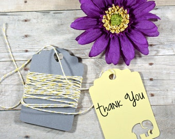 Yellow Elephant Baby Shower Tags Set of 20 - Light Yellow Shower Favors - Shower Gift Tags - Thank You Elephant Labels - Lemon Tags