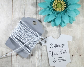 Custom Baby Shower Tags Set of 20 - Light Grey Neutral Shower Favors - Die Cut One Piece Shaped Tags - Personalized Shower Gift Tags