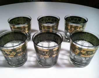 Set of 6 Retro Vintage Clear Glass Grapes Green Gold Greek Pillar Highball Tumblers