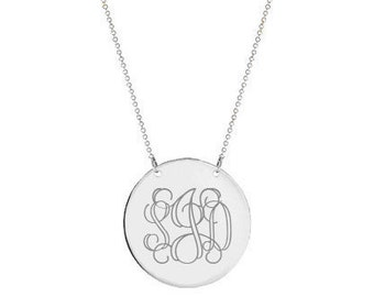 Silver monogram Disc necklace 1 inch pendant select any initial made with 925 Sterling silver
