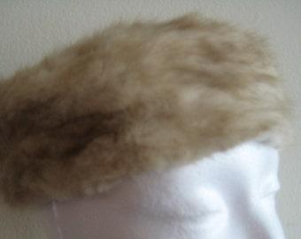 Vtg Blonde Mink Pillbox Hat