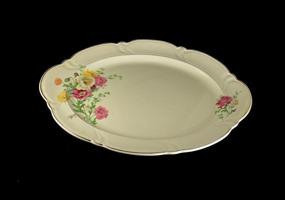 Large Platter,  TST, Taylor Smith Taylor, Ivory, Floral, Gold Trimmed, Oval Serving Platter