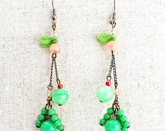 Sweet Vintage, Glass Beaded, Dangling Earrings