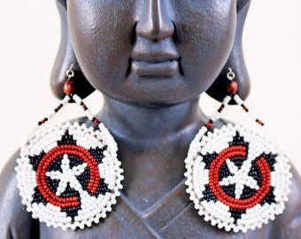 Large Vintage Native American, Handmade, 1960'S Bohemian, Hippie, Ethnic, Tribal Seed Beaded Medallion Earrings