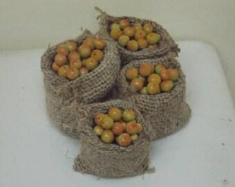 dollhouse , miniature, handmade, dollhouse country sack of apples, dollhouse food, one inch , 1/12 scale