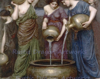 "John William Waterhouse ""Danaides"" Roman Women Pouring Water 1903 Reproduction Digital Print"