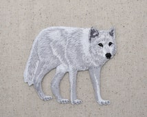 Large White Wolf - Arctic - Full Body - Walking Right - Iron on Applique - Embroidered Patch - WA55