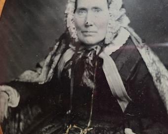 Antique Quarter Plate Ambrotype Photograph Elderly Lady Pristine Condition 19th Century