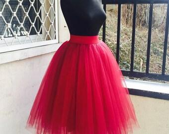 Tulle Skirt, Tulle Skirt Woman, Red Tulle Skirt, Womens Skirt, Red Tutu Skirt, Red Wedding Skirt, Dance Skirt, Classic Skirt,Boho Chic Skirt