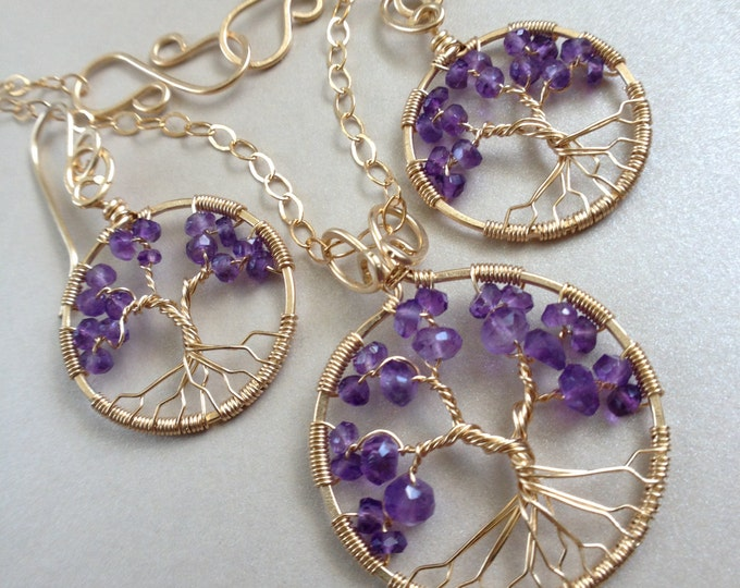 Festival Jewelry Set Amethyst Tree-Of-Life Set 14k Gold Boho Earring Amethyst Jewelry Set February Birthstone Pisces Talisman Hippie Jewelry