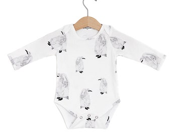 READY TO SHIP Penguin Baby Long Sleeve Onesie
