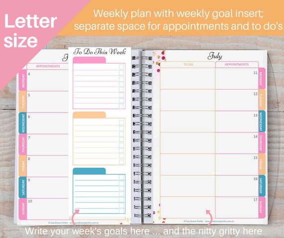 Weekly Goals Calendar : Us letter size  weekly planner printable goal