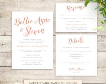 Wedding Invitation template, wedding invitation printable set, Invitation, RSVP, Details, Bettie, any colour | DIY printable template