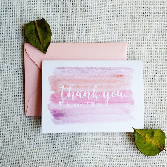 WATERCOLOR Thank You Cards - Shades of Pink - Custom Thank You Notes - Blank Inside - Wedding - Bridal Shower - Many Colors Available(PINKS)