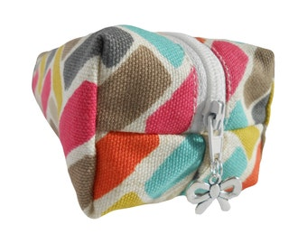 Multi-coloured Blocks Pencil Case, Short Boxy Make-up Bag, Cosmetics Bag, Multicoloured Bag, Lined Make-up Bag, Multicoloured Pencil Case