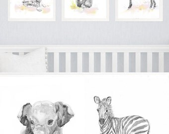 Neutral Nursery Decor, Set of 3 prints, Baby Animals Nursery, Watercolor Painting, Safari Wall Art Watercolour Print, New baby Gift, Gray