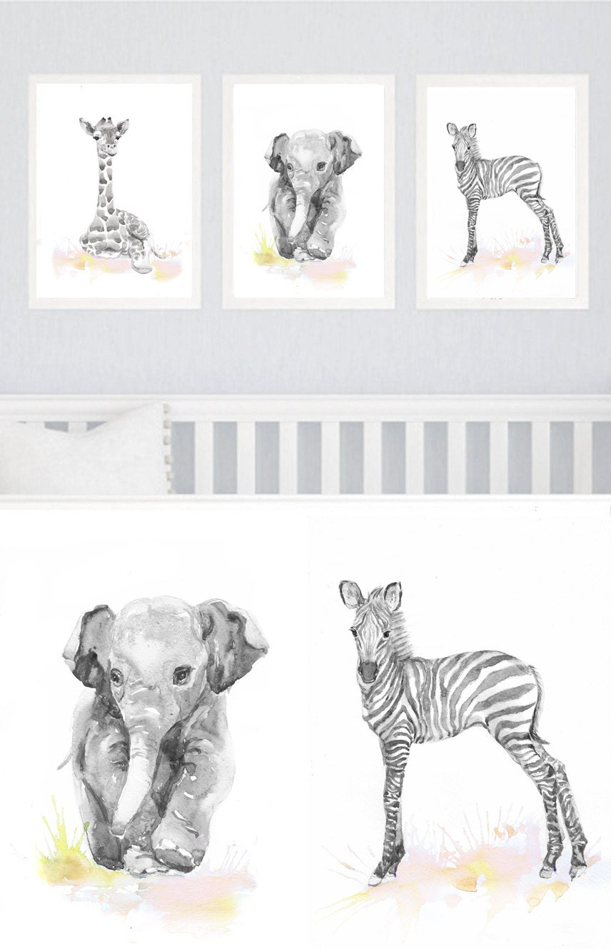 Neutral nursery decor set of 3 prints baby animals nursery for Animal wall decoration