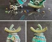 raku ceramic Urn shell shape - cremation urn - human urn - pet urn
