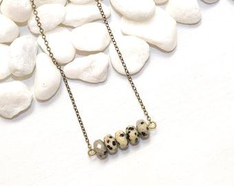 Bar Necklace, Stone Bar Necklace, Jasper Necklace, Dalmatian Jasper Necklace, Chakra Healing Jewelry, Gemstone Jewelry Most Popular Jewelry