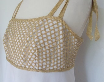 Vintage maxi dress evening dress 1970's white with Gold crochet bodice Dress Size Small
