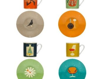 The Modern Home. Mid century design set of 6 espresso cups. Gift box. Porceline NEW Atomic Retro