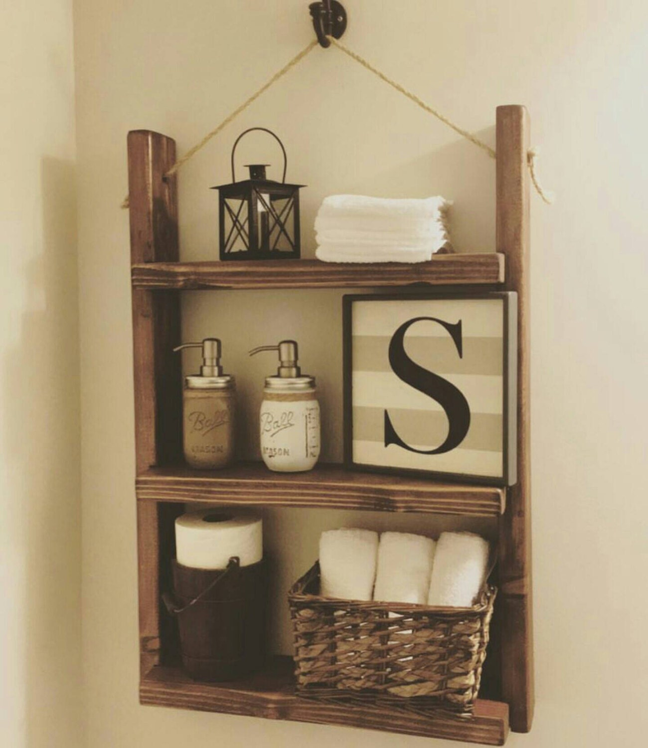 Rustic bathroom shelf farmhouse decor bathroom by for Rustic farmhouse bathroom ideas