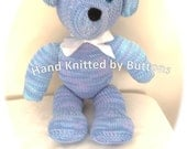 Hand Knitted Teddy bear Blue teddy bear CE tested teddy UK Seller Newborn giftChristening teddyHand knitted teddy Teddy Bear