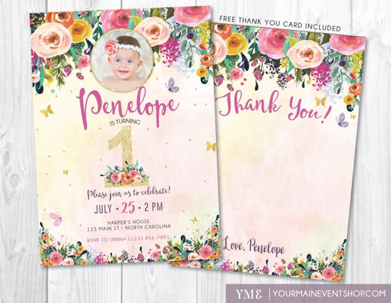 First birthday invitation watercolor whimsical butterfly floral il570xn filmwisefo Gallery