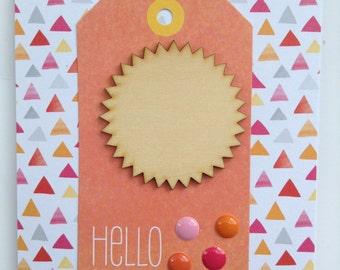 Hello Sunshine Card - Hello Greeting Card - Handmade Card